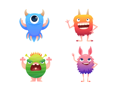 Monsters for game gradient color horn editable vector kid animation creature monster game character