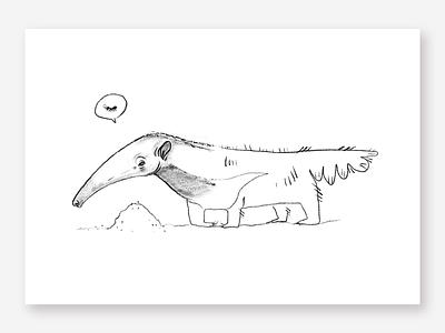 Anteater rough sketch hand drawn pencil sketch simple illustration art pencil brasil animal anteater sketch