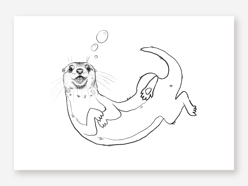Otter cute fun funny cute animal illustration character water mammal otter rough sketch drawing animal hand drawn kids bw sketchbook pencil art illustration pencil sketch