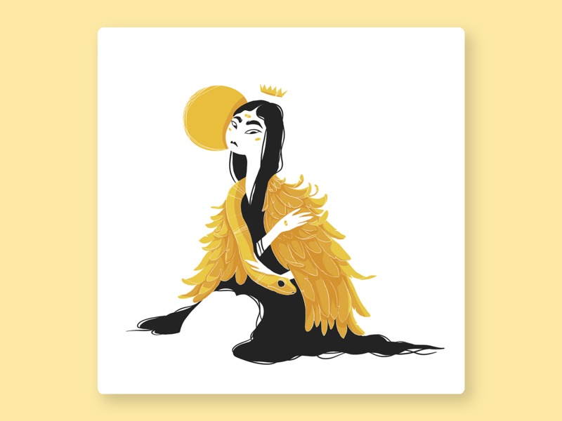 sun queen design long hair wings girl woman face black procreate crown drawing challenge sun asian girl mystery hair queen snake yellow illustration color character