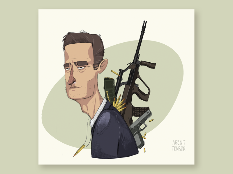 agent Tenson addicted sad cocaine rifle male character management bullet avatar portrait illustration war guns man personal agent soldier male characterdesign character dnd