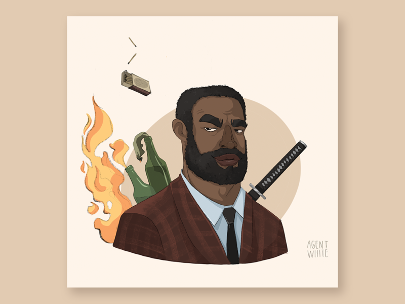 Agent White game dnd man male illustration telekinesis fire avatar suit black male character character characterdesign agent