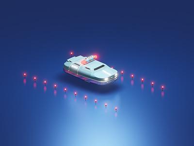 5th element Police car render blender3d 3dart rendering multipass light isometric illustration blender 3d render