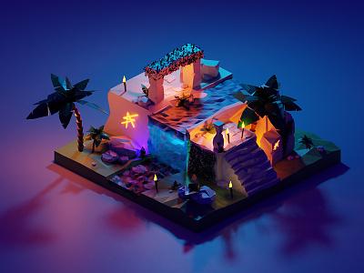 Render 3D exercice 2/4 lights purple isometric illustration design graphic old ruins illustration render blender3d blender