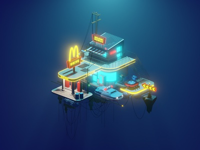 Render 3D exercice 3/4 - from police car ;) fog design illustrations isometric multipass leeloo 5thelement building fly illustration blender3d blender rendering render
