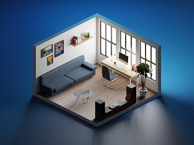 Render 3D exercise 4/4 3d isometric desktop room light illustration design graphic render blender3d blender