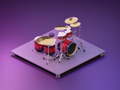 Drumset Render isometric illustration isometry isometric art clean purple illustration drum design graphic isometric render 3d art 3d blender3d blender