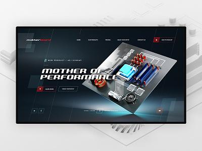 Webdesign illustration uidesign project side white ux design clean interface ui webdesigner technology motherboard blender render 3d illustration webdesign