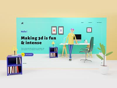 Webdesign illustration character flat icon webdesigns ux onepage scene ui design webdesigning design blue clean webdesigner interface illustration blender 3d render charater design ui webdesign