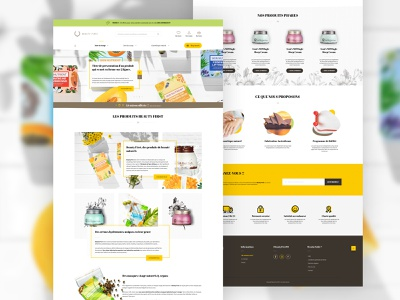 Webdesign cosmetics e-shop designer graphics yellow brown vegan natural homepage store eshop web sketch product cosmetics shop ecommerce ui interface design webdesign
