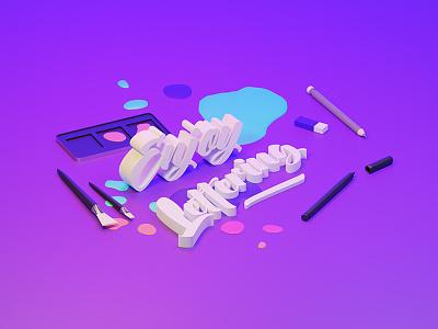 Enjoy Lettering - render illustration isometric illustration pencils brush pen brush inking purple gradient 3d art isometric design graphic blender lettering 3d rendering render