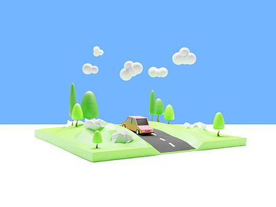 Road & car illustration isometric cute blender3dart cloud sun nature art vehicles roads tree isometric art renders blender blender 3d 3d illustration