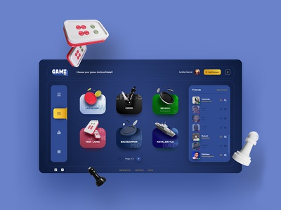 Dashboard Ui - Gamz game illustration 3d blue uxdesign ux uidesign webdesign interface ui dashboad