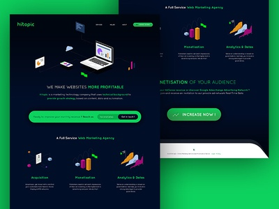 Hitopic Webdesign clean technology ui design modern flat grey blue white green multicolor illustration webdesign