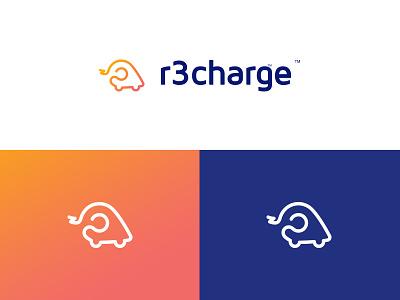 Logo for recharge #1 orange blue clean mark vector identity logotype design branding typography illustration logo