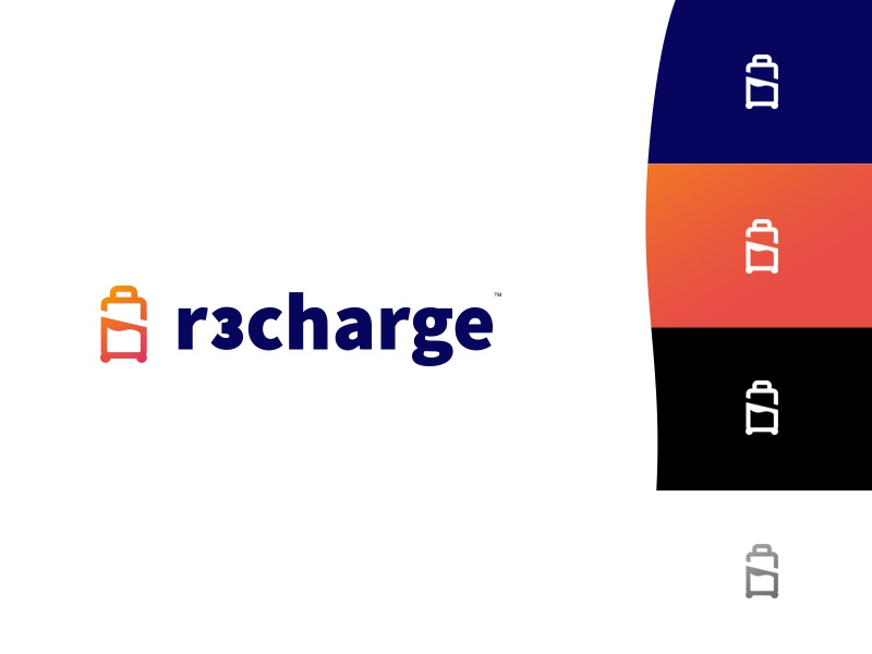 #Logo design R3charge battery suitcase bed gradient logo design mark corporate vector design red blue identity logotype branding clean white logo