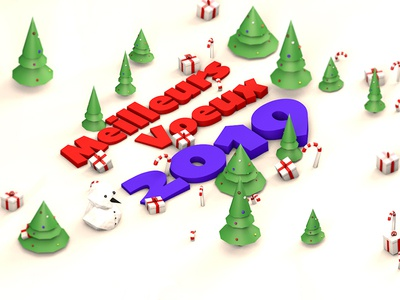 Happy New Year !! // Bonne année 2019 !! 🎉 illustration design low poly new year 2019 isometric winter snow c4d 3d
