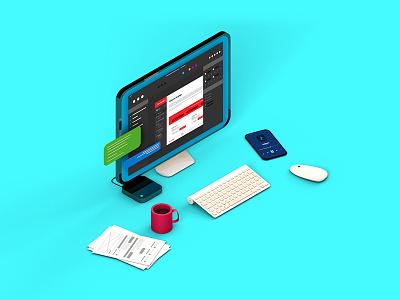 Webdesign/UI Mini-scene mi mobile isometric iso interface ui webdesign cinema4d c4d 3d