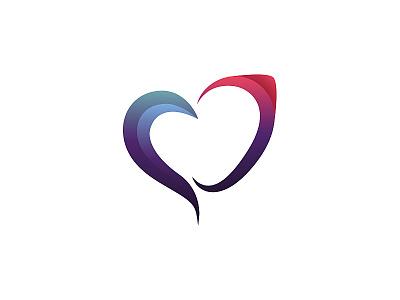 Heart logo transgender love heart transgender mark design identity logotype vector illustration red fushia blue gradient clean branding logo