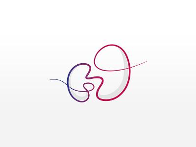 Kidney Logo logotype red fushia gradient blue white clean logo design branding print journal blog paper medical identity mark logo design kidney
