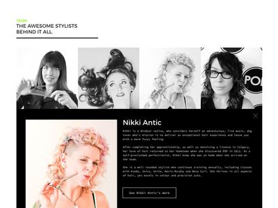 Salon Team Component web design: layout salon hair salon