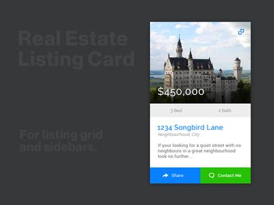Listing Card component layout real estate ux ui website web design