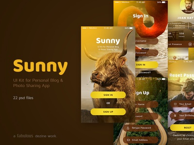 Sunny UI Kit for Personal Blog & Photo Sharing Mobile App photography personal blog ui kit photo sharing app ui kit mobile ui kit sunny