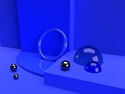 Experiments 01 scene 3d scene objects blue color 3d art 3d adobe dimension dimension styling graphic design design