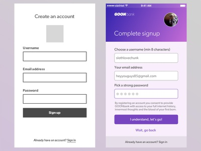 Daily UI #001 - Signup goonies banking app form signup 001 dailyui