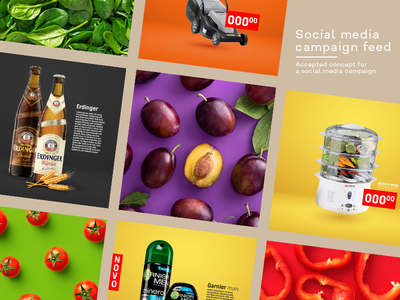 Supermarket Social Media Feed social media design socialmedia concept pricing feed supermarket food brands design instagram post campaign