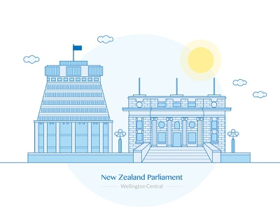 New Zealand Parliament parliament illustrator government architecture building graphic vector illustration