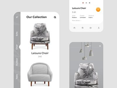 Modern Furniture App Concept Design color concept furniture white animation typography branding mobile flat minimal design ux ui clean