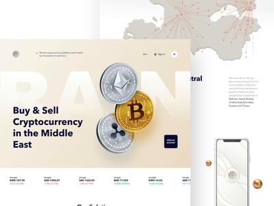 Cryptocurrency Trading Website Redesign Concept clean website homepage cryptocurrency typogaphy animation flat minimal design ux ui web landing coins icon crypto coin branding blockchain bitcoin