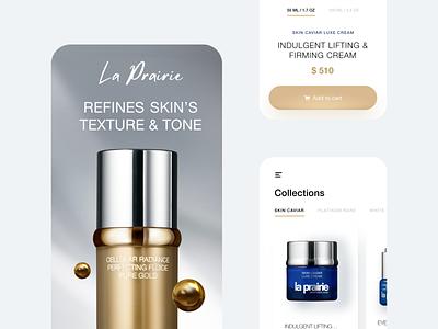 La Prairie Mobile App Design Concept - Skincare Brand fashion shopping glossier makeup app ios white woman beauty skincare ecommerce cosmetic flat mobile app concept clean ux ui minimal design