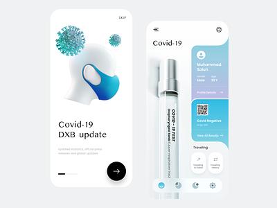 Covid-19 Application - Mobile App flat healthcare graphic design statistics covid popular design dribbble best shot 2021 trend tracker health app mobile covid 19 concept ux minimal clean ui design