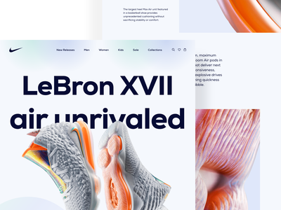 Nike product landing page redesign concept 2021 trend dribbble best shot web product running ecommerce sneakers shoes footwear fashion lebron nike landing page flat concept minimal ux clean ui design