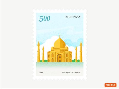Taj Mahal Stamp tajmahal freepsd design icon building vector travel india stamp illustration architecture