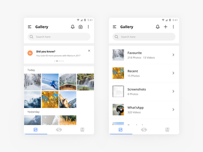 Gallery App cards design mobile minimal ux ui flat concept white clean app gallery