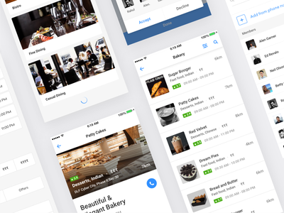 Dining Booking app minimal booking white ux ui mobile flat design concept clean cards app