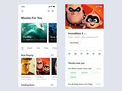 Movie booking app movie white user ux ui mobile minimal flat design concept clean app