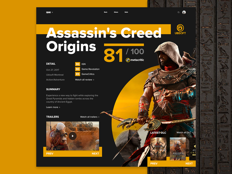 Assassin's Creed: Origins SQUARE Page interface gaming ubisoft daily ui web  design creed assassin assassins assassins creed square uiux uxui ux ui adobe xd