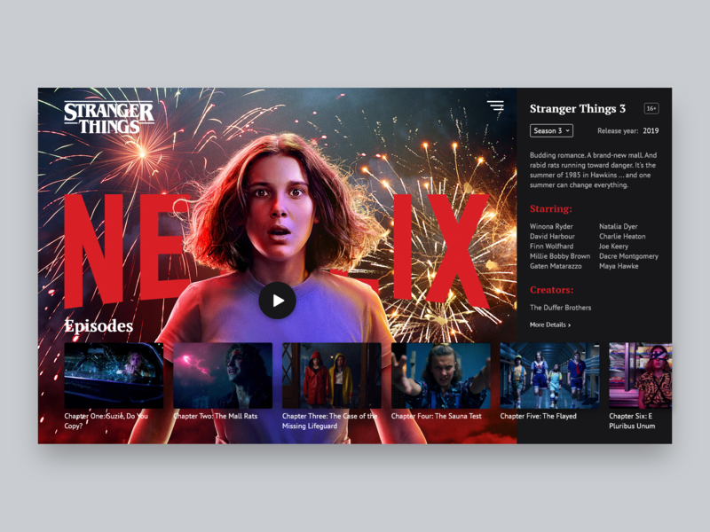 Stranger Things 3 concept concept netflix layout ux  ui ui  ux uxdesign stranger things strangerthings webdesign web page movie uxui uiux ux ui interface design daily ui adobe xd