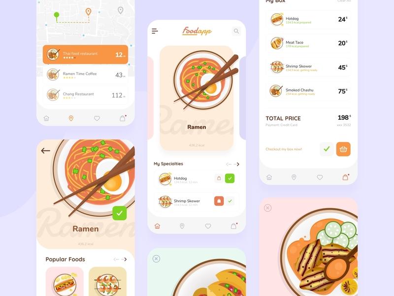 FoodApp flat marketing entertainment app design interaction design graphic food illustration food app ui  ux uxdesign uidesign design illustration application