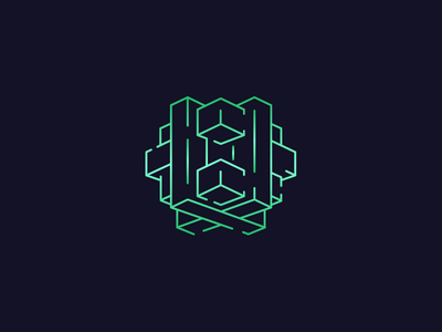 Escape Game Logo polygon electro green geometric room enigma puzzle chinese labyrinth mystery game escape