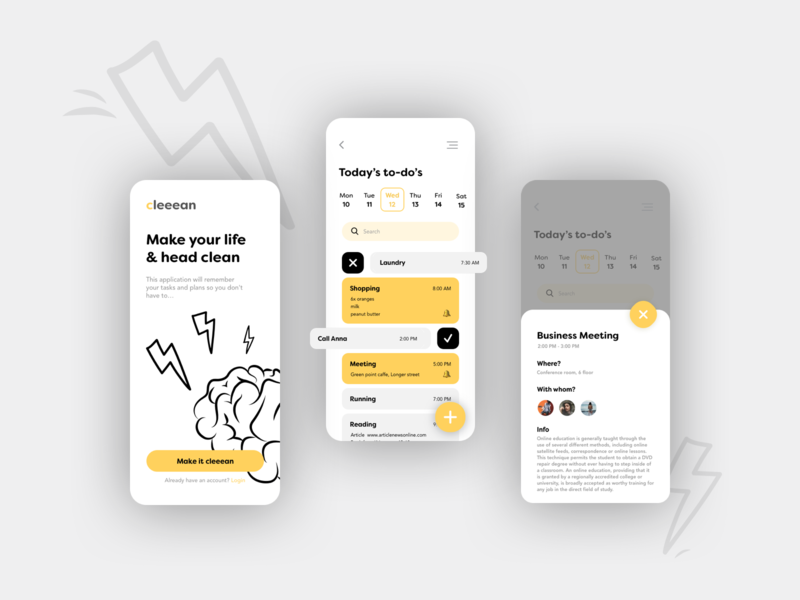 Planner yellow bw black illustration app ux ui