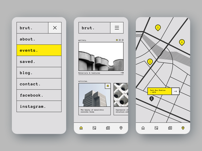 Brut. clean map architecture brutalism mobile ui ios mobile app uidesign ux app