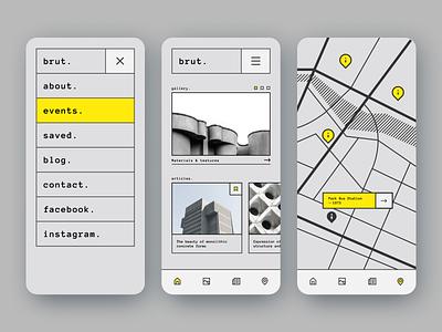 Brut. clean map architecture brutalism mobile ui ios mobile app uidesign ux app