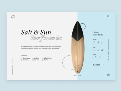 Salt & Sun Surfboards ecommerce clean minimal header ocean light blue surfing ux uxui surfboard homepage interface surf ui hero website web