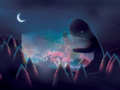 Soon drawing nature dark terrarium creature high drugs mushrooms night design art illustration