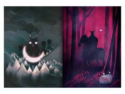 Come Closer / Dangerous Date woods mushrooms night moon forest animals spooky dark creatures design art illustration